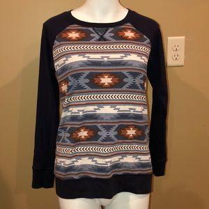 Eddie Bauer sweatshirt Aztec Western blue Medium